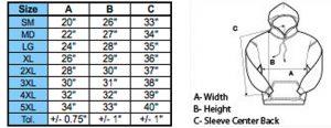 hoodies size chart 300x116 - Size Chart